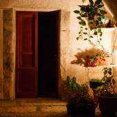 Courtyard with plants at night — Stock Photo