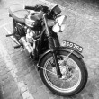 Постер, плакат: Triumph motorcycle on paving stone