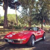 Old red Corvette — Stock Photo