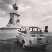 Fiat 500 Old Car Street Rome — Stock Photo