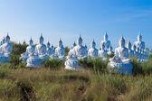 Raw of white buddha status on blue sky background — Stockfoto