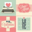 Vintage valentines day and weeding cards with ornaments — Stock Vector #52857591