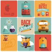 Vintage styled School Cards - Set of calligraphic and typographic elements, frames, vintage labels. Ribbons, stickers, - all for back to school — Vetor de Stock