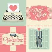 Vintage valentines day and weeding cards with ornaments — Stock Vector