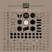 150 hipster icons — Stock Vector