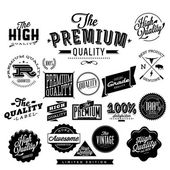 Premium Quality, High quality and Guarantee Labels retro vintage style design — Stock Vector