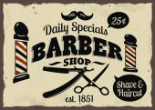 Barber Shop or Hairdresser icons and signpost — Stock Vector