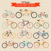 Vintage Hipster Bicycles — Wektor stockowy