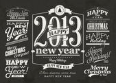 Happy New Year Labels and Merry Christmas typography — Vector de stock