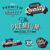 Premium, High quality and guarantee labels — Stock Vector