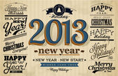 Collection of 2013 Happy New Year Labels and Merry Christmas typography — Stok Vektör