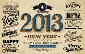 Collection of 2013 Happy New Year Labels and Merry Christmas typography — Vector de stock