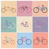 Винтаж ретро велосипедов стола — Cтоковый вектор