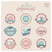 Vintage-Retro styled Labels of anniversary — Stock Vector