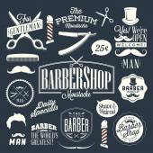Vintage barber shop labels, graphics and icons — Stock Vector