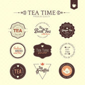 Collection of premium quality tea and coffee labels — Stock Vector