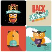 Back to school Retro emblems — Stock Vector