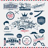 Vintage barber shop etiketter, grafik och ikoner — Stockvektor