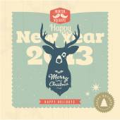Christmas greeting card with premium label and grungy reindeer — Stock Vector