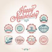 Happy anniversary premium quality labels — Stock Vector