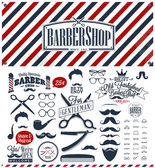 Set of vintage barber shop logo graphics and icons — Stock Vector
