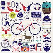 Icona di hipster, distintivo, etichetta, adesivo! Wow! tutto ciò che serve! — Vettoriale Stock