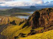 Costa da Islândia durante o pôr do sol — Fotografia Stock