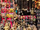 Masks, souvenirs in street shop — Stock Photo