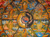 Ancient Buddhist thangka painting — Stok fotoğraf