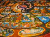 Ancient Buddhist thangka painting — Foto de Stock