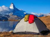 Tent near Matterhorn — Stock Photo