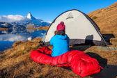 Girl near Matterhorn — Stock Photo