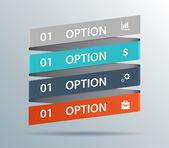 Modern business ribbon origami style options banner. Vector illu — Stock Vector