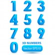 Blue 3d numbers. Vector set. — Stock Vector #52613201