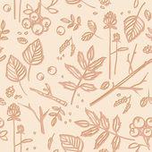 Wzór z liści, gałązki, owoce — Wektor stockowy