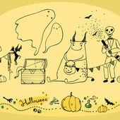Naadloze halloween patroon met geesten pompoenen en skelet — Stockvector