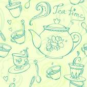 Teatime seamless pattern with teapot and mugs — Stock Vector