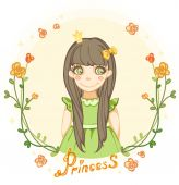 Princess girl in the floral frame — Stock Vector
