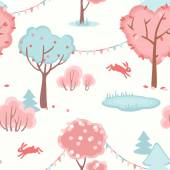 Seamless pattern with cute forest of love — Stock Vector