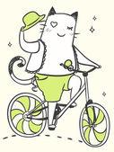 Cartoon cat on a bicycle — Vector de stock