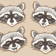 Set of positive emotions cartoon raccoon — Stock Vector #69868007