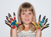 Funny girl painted — Stock Photo