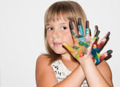 Fantastic girl with painted fingers — Stock Photo
