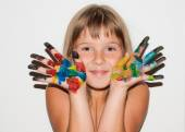 Girl painted fingers — Stock Photo