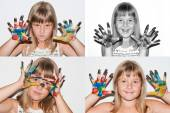 Emotions - girl with painted hands — Stock Photo