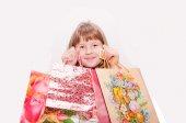 Teen girl and presents — Stock Photo