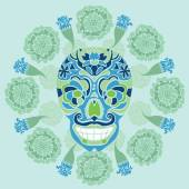 Mexican skull with marigold pattern — Stock Vector