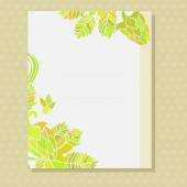 Yellow ornamented card with floral pattern — Stock Vector