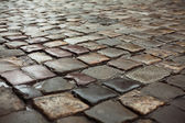 Wet road paved by sett — Stock Photo
