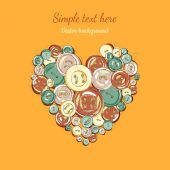 Illustration heart of the buttons — Vector de stock
